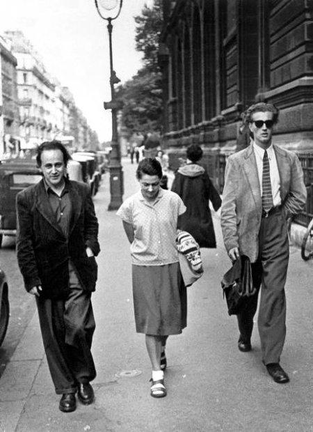 The poet Paul Celan walking down the street with Nani Maier and Jean Dominique Rey - Poesia Online