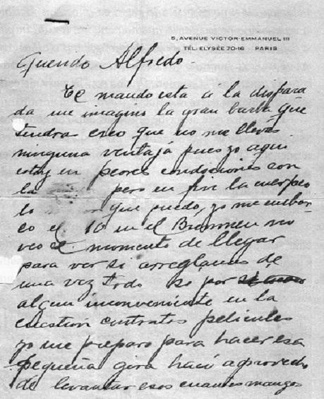 Carta de Gardel a Le Pera 1934. Archivo gardeliano. - Poesia Online